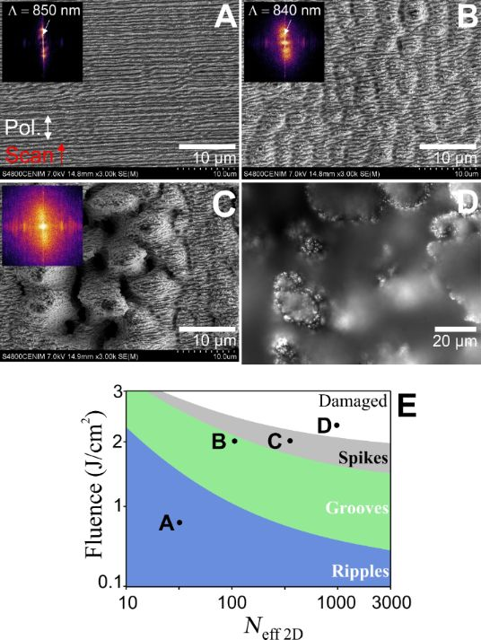 Biomimetic surface structures in steel fabricated with femtosecond laser pulses: influence of laser rescanning on morphology and wettability.