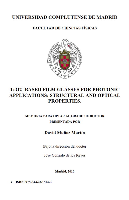 TeO2-based film glasses for photonic applications: structural and optical properties