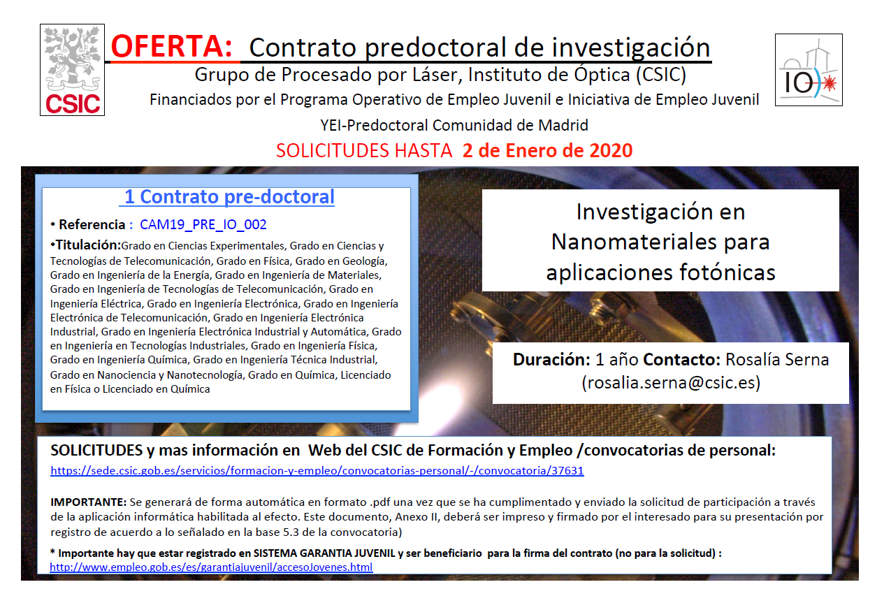 New predoctoral contract