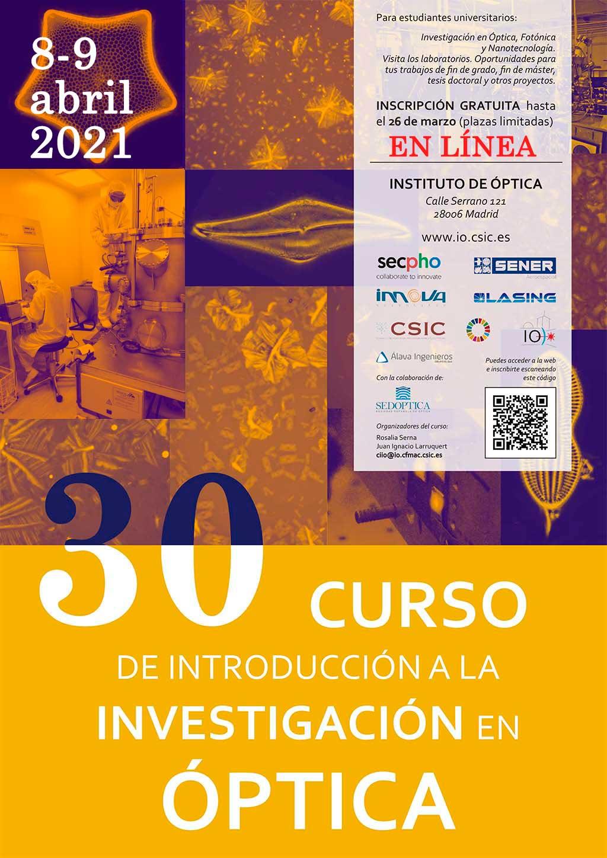 30 Curso de Introducción a la Investigación en Óptica, 16-17 Abril 2020